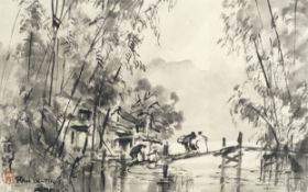 Ran In-Ting (Lan Yinding) (Taiwanese, 1903-1979) Bamboo by the river, Formosa