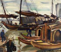 André Claudot (French, 1892-1982) Sampans moored in Hangzhou Harbour, China