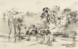 Ran In-Ting (Lan Yinding) (Taiwanese, 1903-1979) A rural lane, Formosa