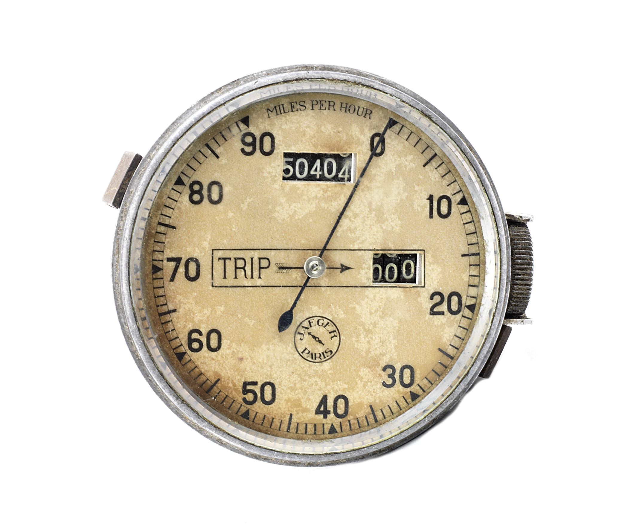 A Jaeger chronometric 0-90mph speedometer and trip,