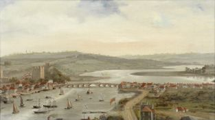 English School, 19th Century A view of Rochester with busy shipping on the Medway