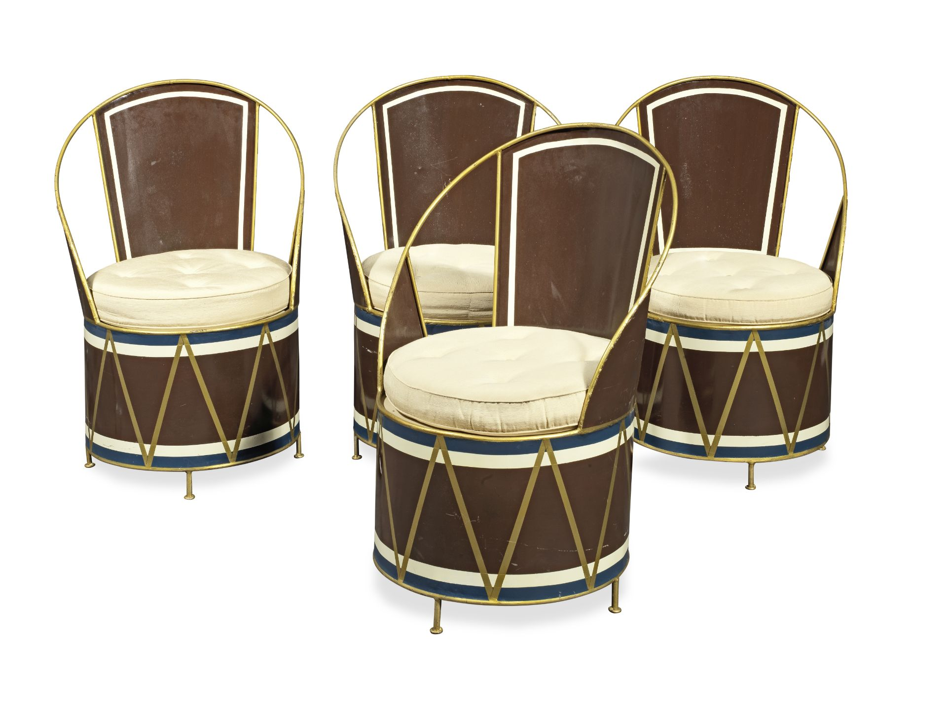 A set of four tole peinte 'drum' chairs after the model by Cecil Beaton (4)