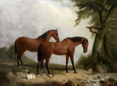 Attributed to James Walsham Baldock (British, 1822-1898) Two bay horses in a landscape with a goa...