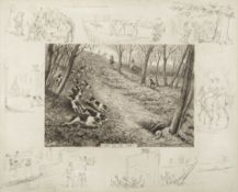 Frank Paton (British, 1856-1909) A set of ten etchings complete with a focal subject and surround...