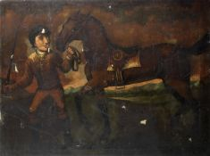 English Naive School, 19th Century A jockey with a horse in a landscape unframed