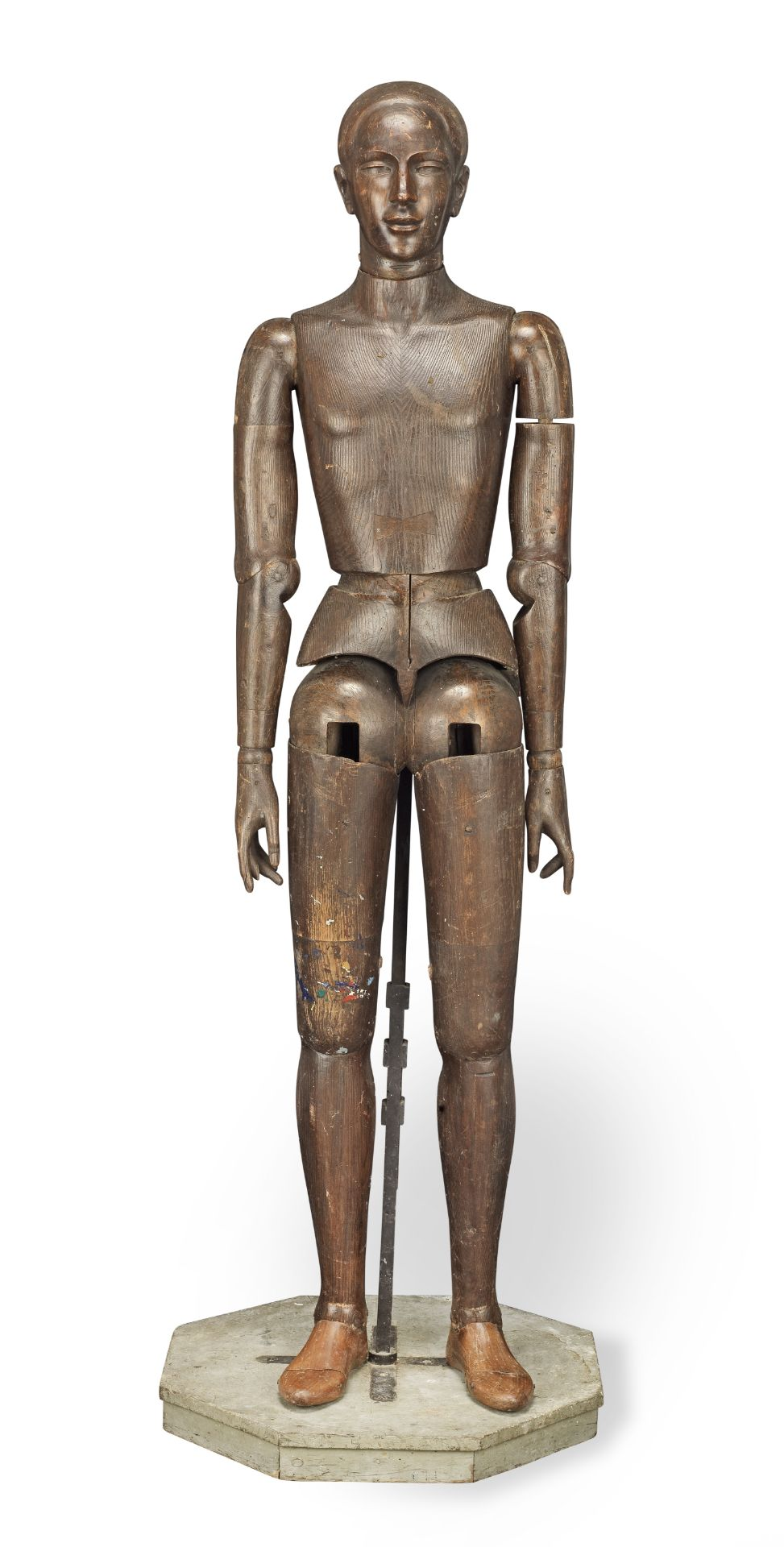 An unusual and rare near life-size late 19th / early 20th century Continental carved and stained ...