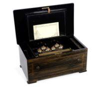 A bells-in-sight cylinder musical box, Swiss, circa 1880,