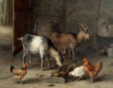 Edgar Hunt (British, 1876-1953) Goats and chickens feeding in a farmyard interior