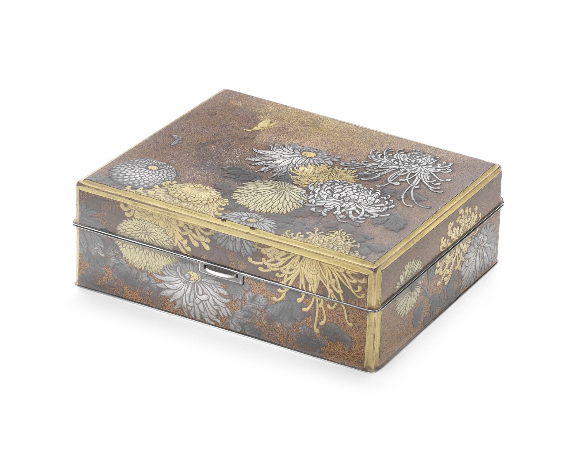 A Japanese silver and lacquer trinket box early 20th century