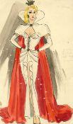 Ronald Cobb (British, 1907-1977): An original costume design of a Murray's Cabaret Club showgirl ...