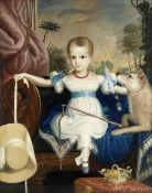 H. Knight (British, 19th century) A portrait of a seated girl and her dog with a garden beyond
