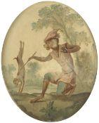 Christophe Huet (French, 1700-1759 Paris) A pair of singerie works depicting monkeys training a d...