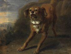 Dutch School, 17th Century A barking dog in a landscape