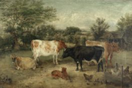 Edwin Frederick Holt (British, 1830-1912) Cows in a farmyard with chickens and chicks