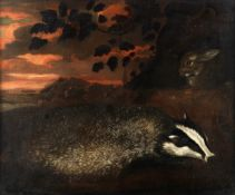 Circle of Charles Collins (British, 1680-1744) A badger and a rabbit in a landscape