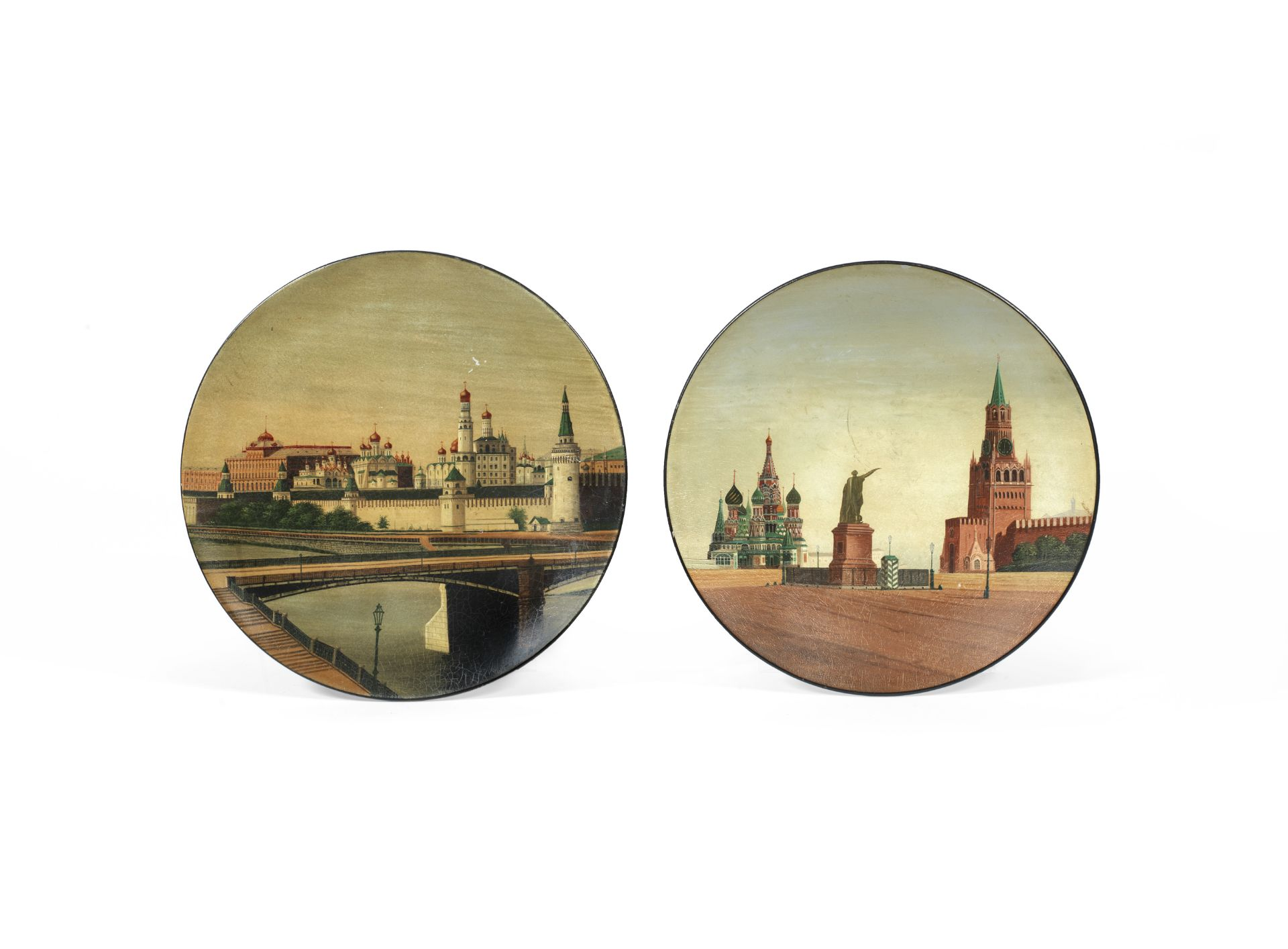 A late 19th / early 20th century Vishniakov papier mache lacquered and painted plate depicting a ...