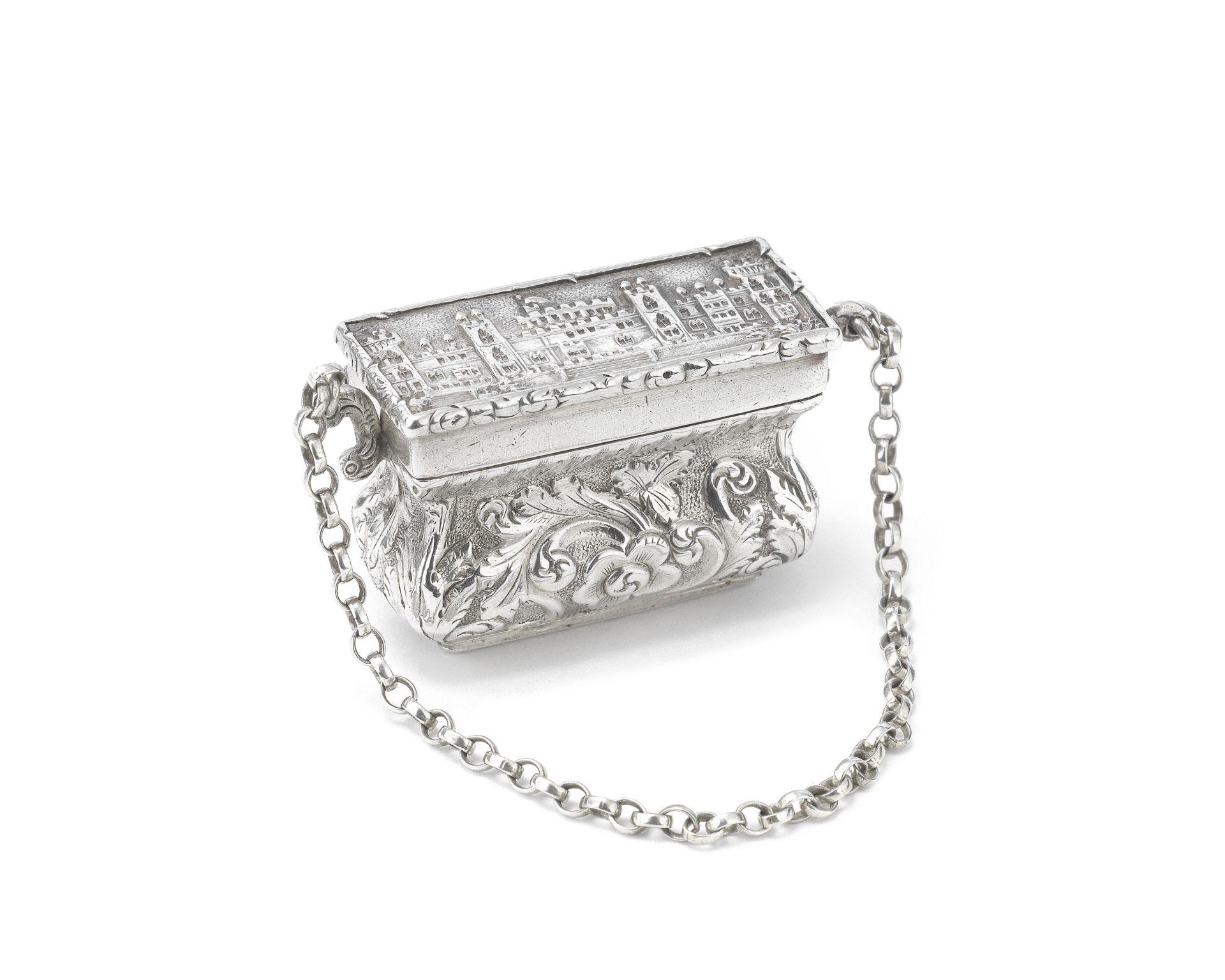A Victorian 'castle-top' silver vinaigrette John Tongue, Birmingham 1845