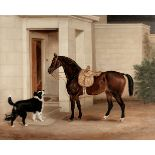 R. Yeomans (British, 19th century) A horse greeted by a dog