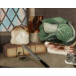 English School, 19th Century Still life of food with a cat stalking a mouse