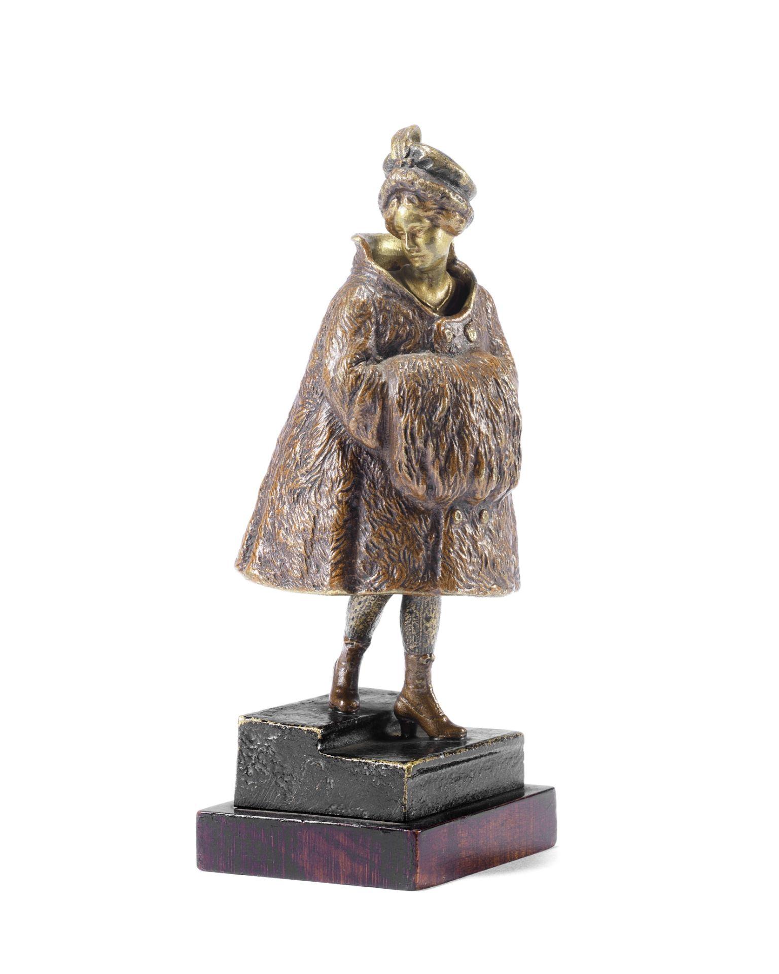 Franz Bergman (Austrian, 1861-1936): An unusual cold painted bronze metamorphic female figure of ...