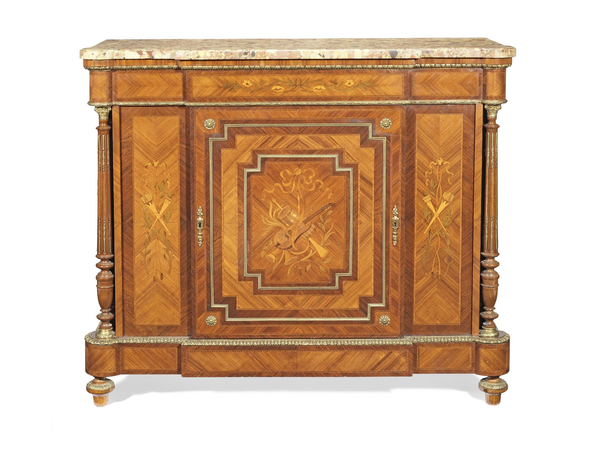 A Napoleon III gilt bronze mounted tulipwood, rosewood and marquetry hauteur d'appui or low cabinet
