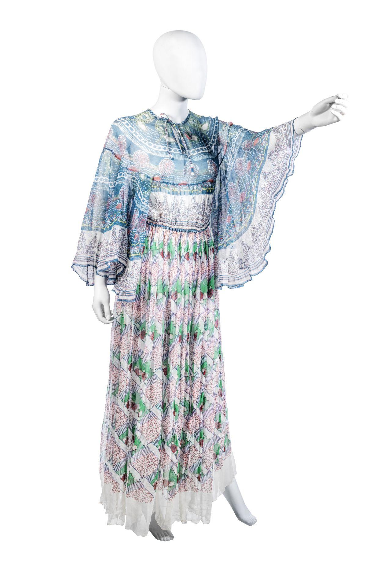 Zandra Rhodes Blue Chiffon Butterfly Dress, circa 1969