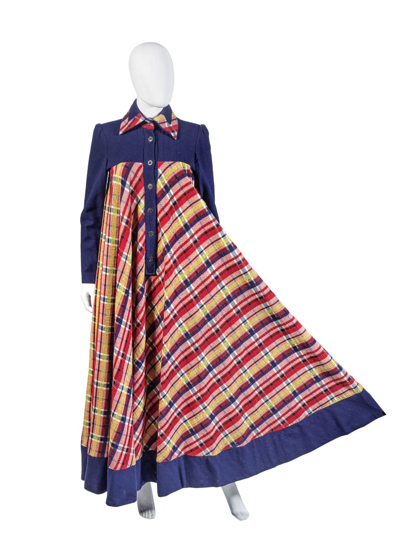 Jean Varon (John Bates) Blue and Red Wool Tartan Maxi Dress, circa 1969