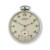 Schot. A platinum and diamond set keyless wind open face pocket watch Circa 1930