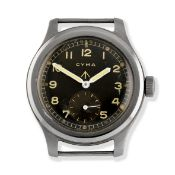 Cyma. A stainless steel manual wind British Military issue watch 'Dirty Dozen', Circa 1945