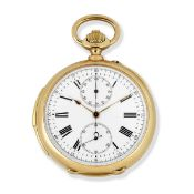 V. Lejeune, 16 Rue de la Banque, Paris. An 18K gold keyless wind minute repeating chronograph ope...