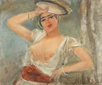 Sigmund MENKÈS (Galician, 1896-1986) Odalisque au tambourin (Painted c. 1930 unframed)
