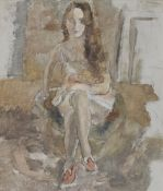 JULES PASCIN (Bulgarian, 1885-1930) La Figurante du Palace (Painted in Paris in 1927)