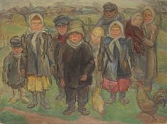 Savely Schleifer (Ukrainian, 1888-1943) Children (Painted c. 1930)