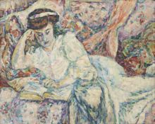 Philippe Hosiasson (Ukrainian, 1898-1978) Mère et fille / La Liseuse (2) (Painted in 1920 )