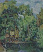 Henri Epstein (Polish, 1891-1944) Maison au bord d'une rivière (unframed)