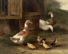 Edgar Hunt (British, 1876-1953) A family of ducks
