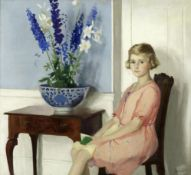 Archibald George Barnes (British, 1887-1972) Portrait of a girl, seated, next to flowers