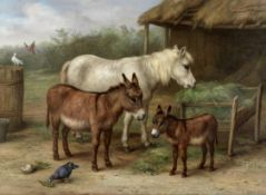 Edgar Hunt (British, 1876-1953) Feeding time in the stable yard