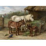 Edgar Hunt (British, 1876-1953) Feeding time in the stable yard