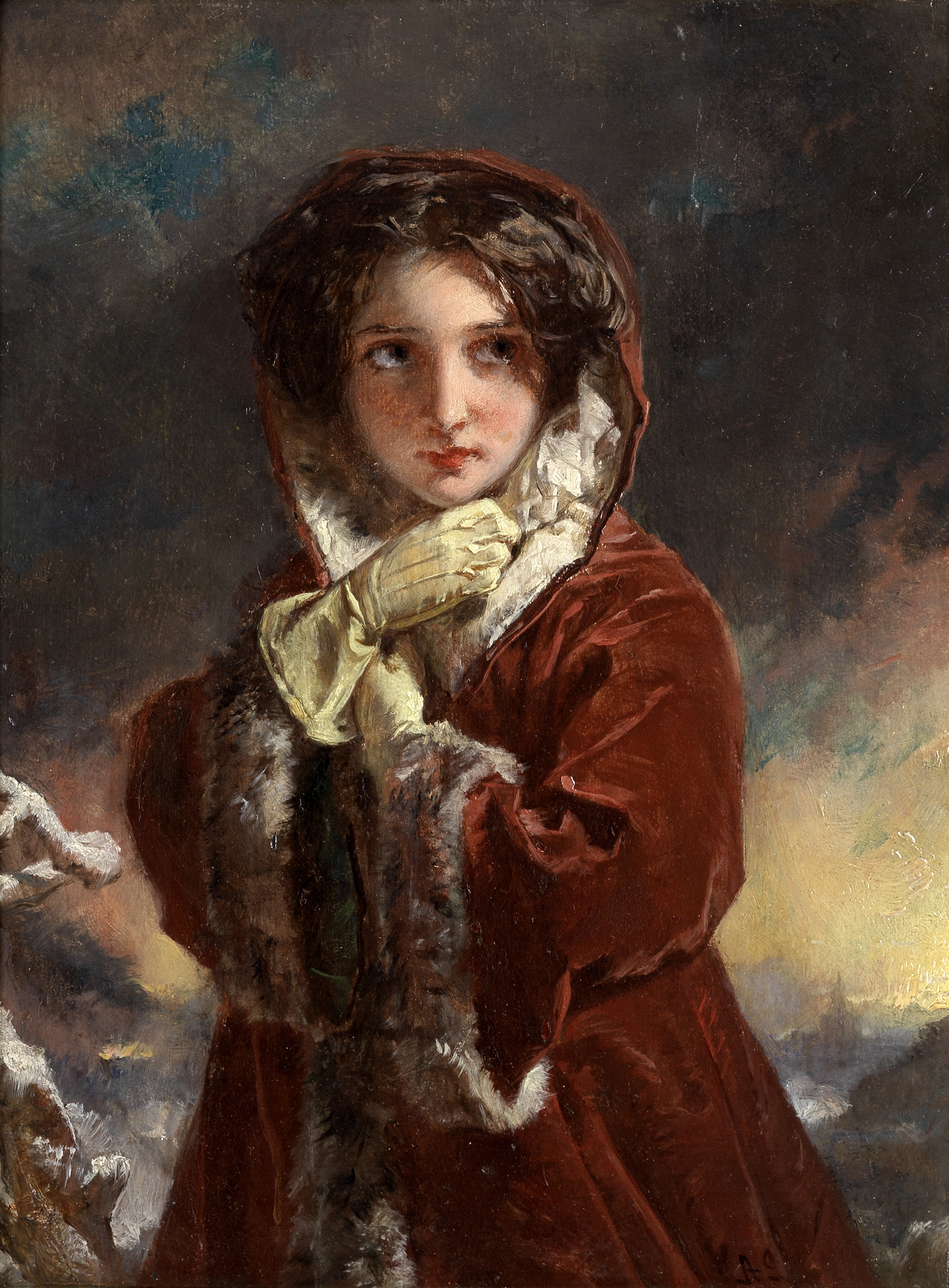 English School, 19th Century Girl in a red winter coat