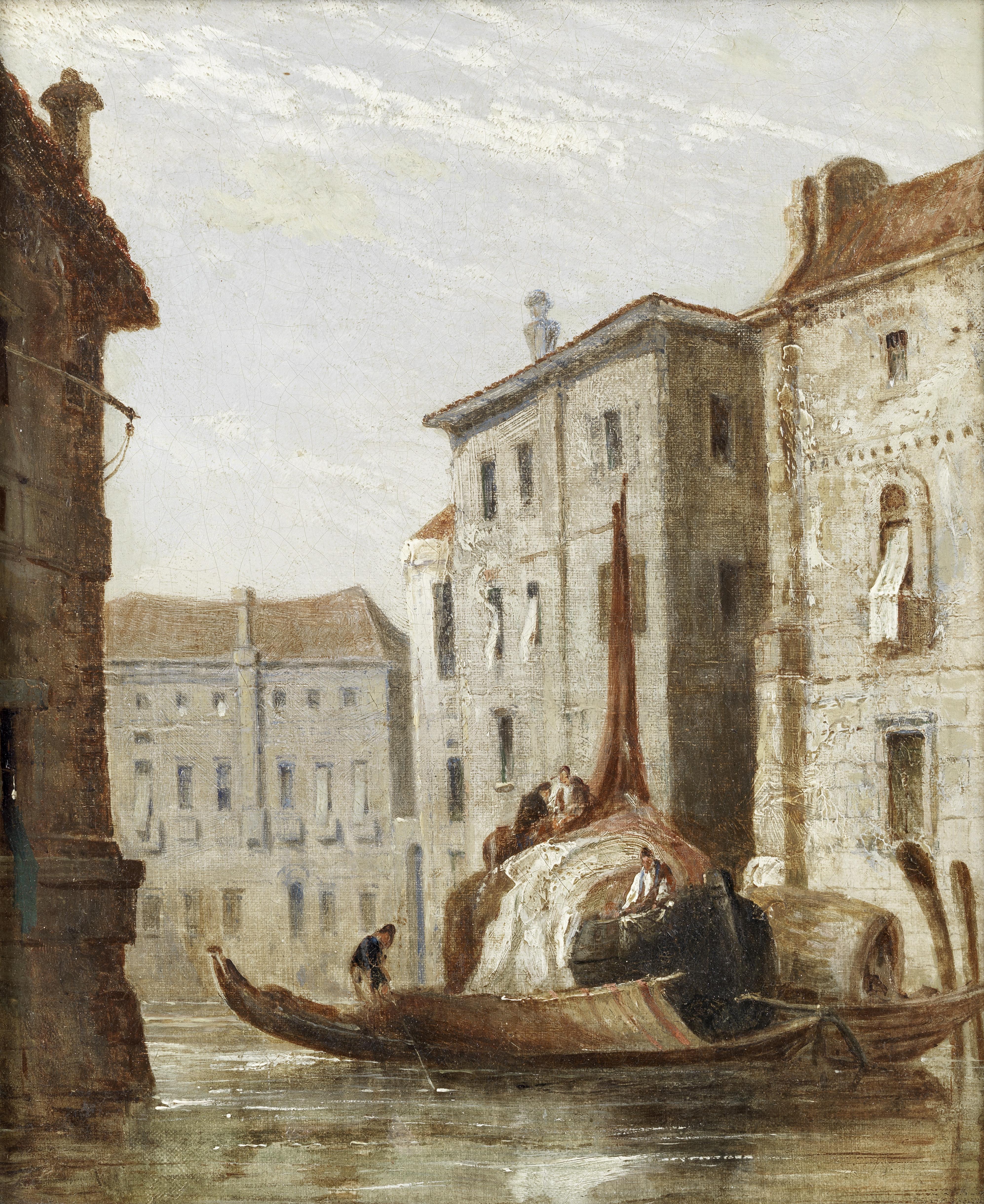 Circle of Francis Moltino (British, 1818-1874) Venetian scenes, a pair both 32 x 26.5cm (12 5/8 x...