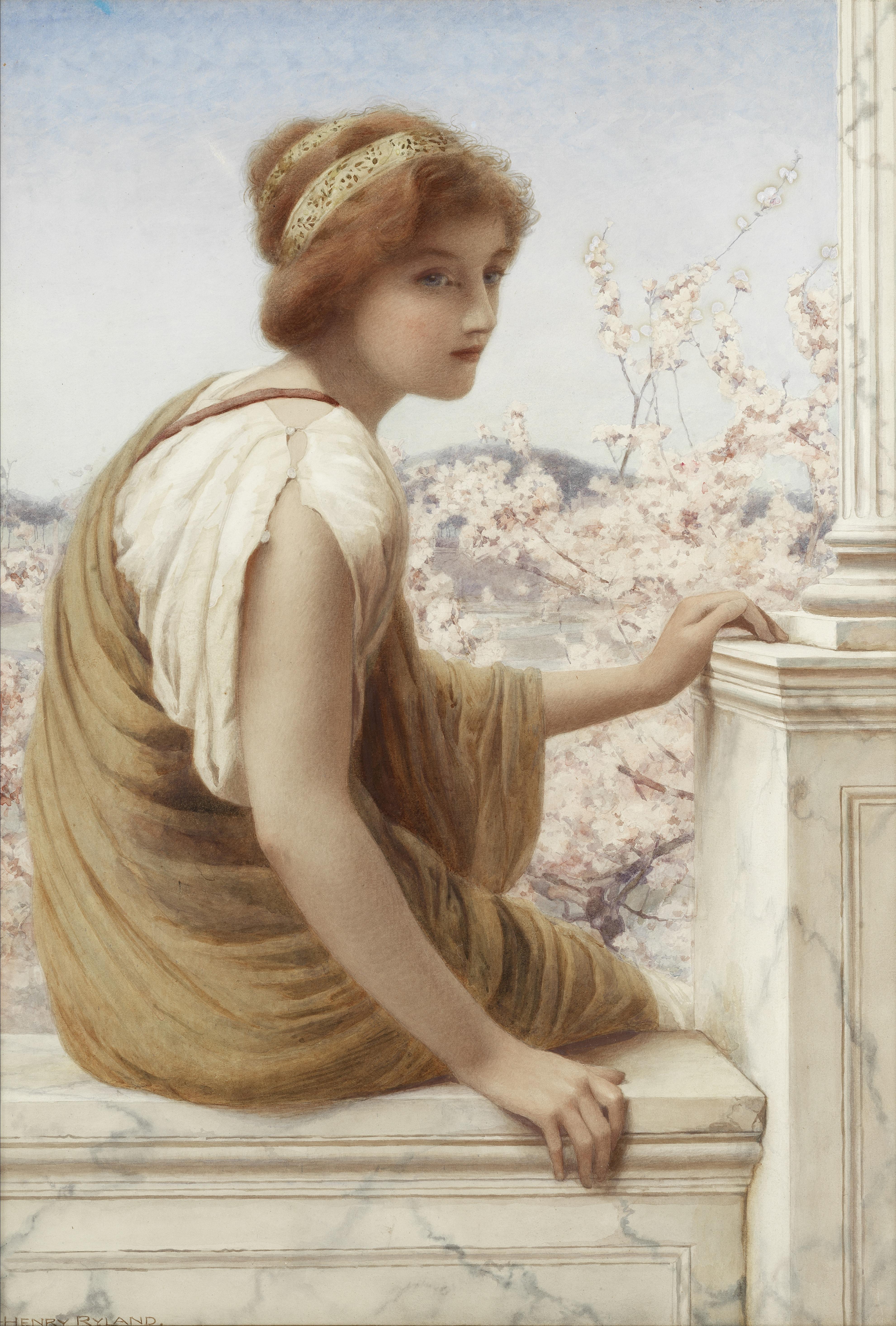 Henry Ryland (British, 1856-1924) Apple blossom