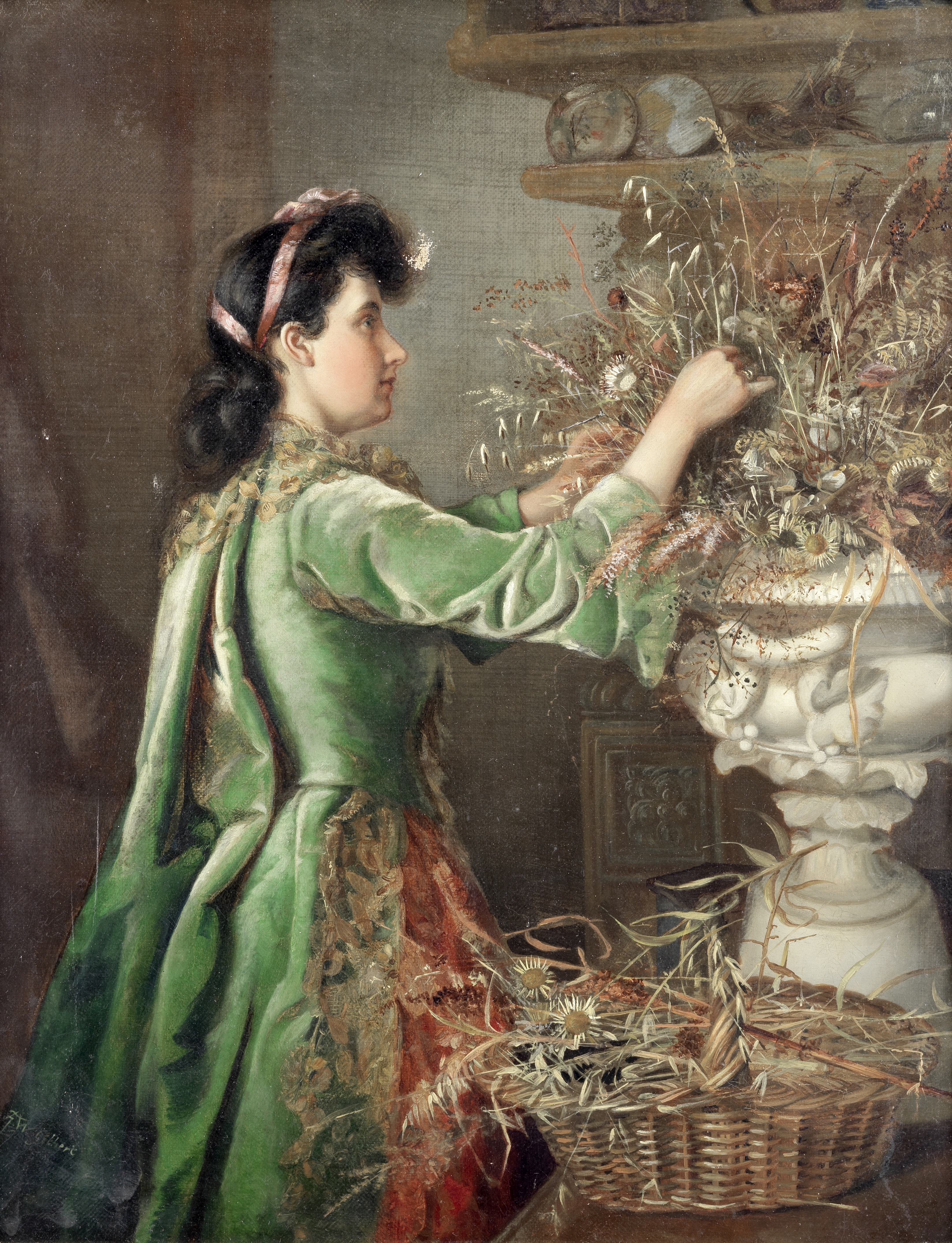 Minnie F. W. Gilbert (British late 19th century) Arranging flowers