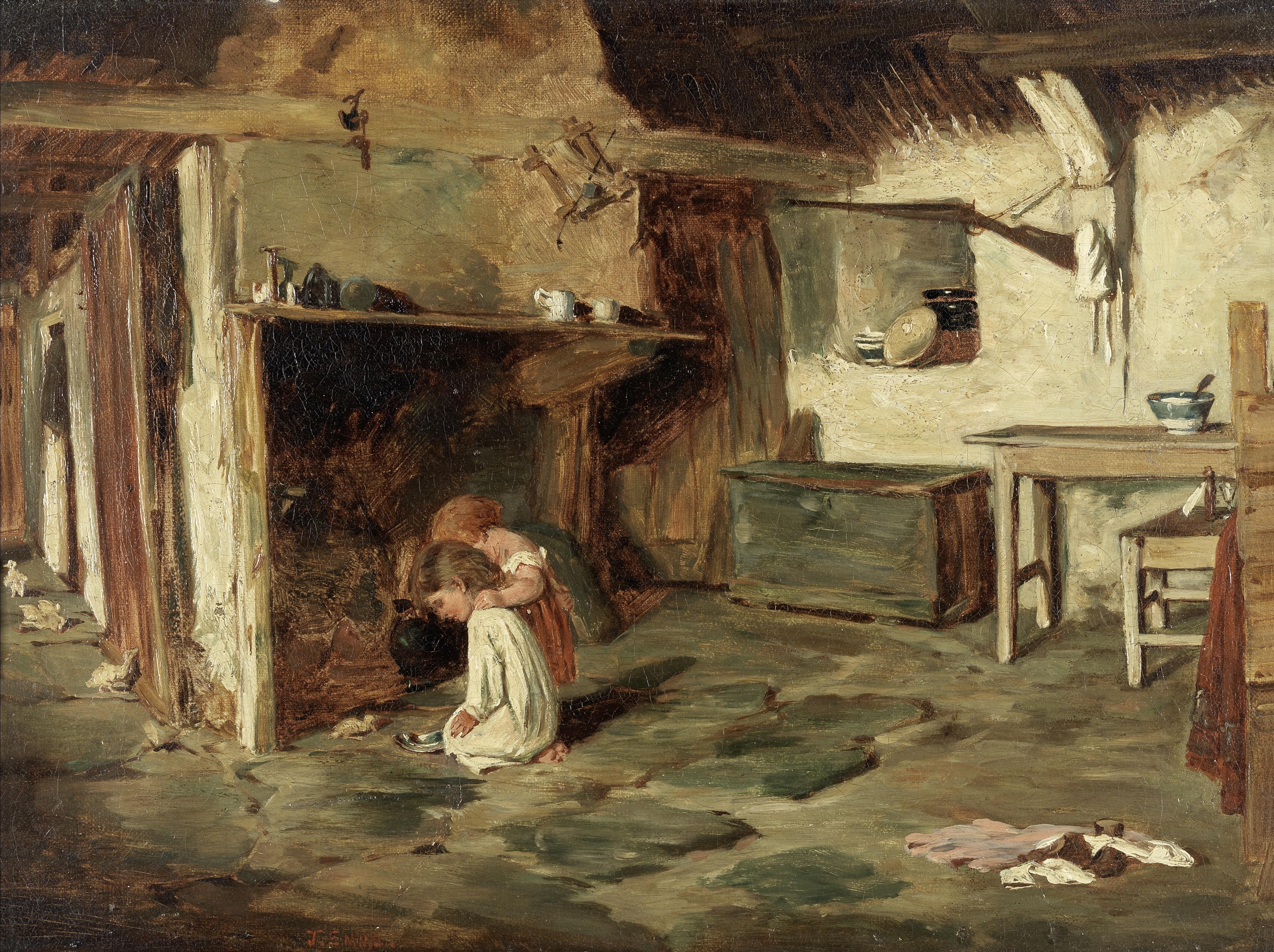John Emms (British, 1843-1912) Feeding ducklings