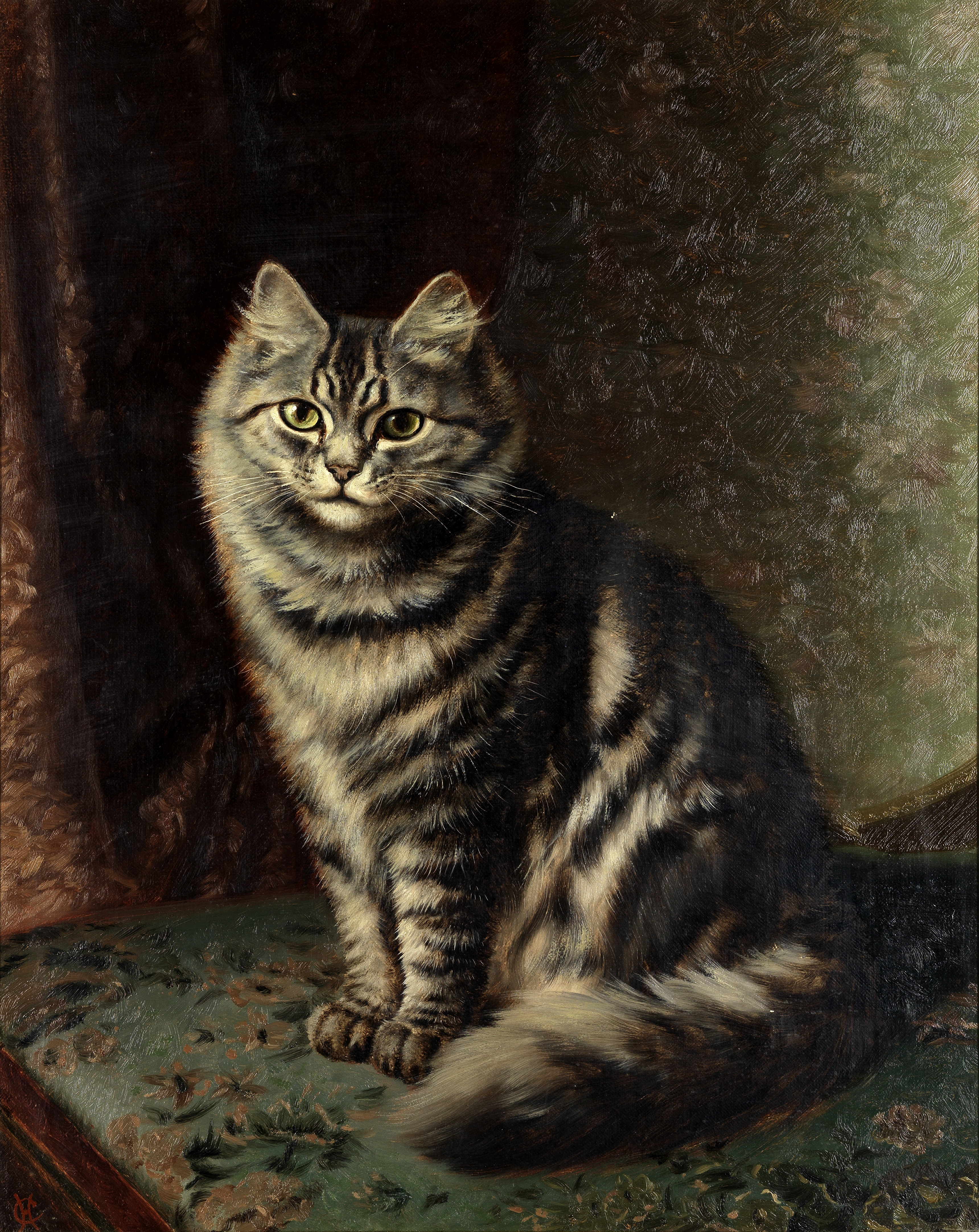 Horatio Henry Couldery (British, 1832-1893) A silver tabby on a chair