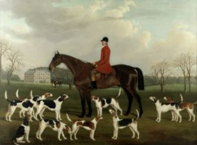 W. Nedham (British, 19th Century) A huntsman, mounted, with his hounds before a country estate