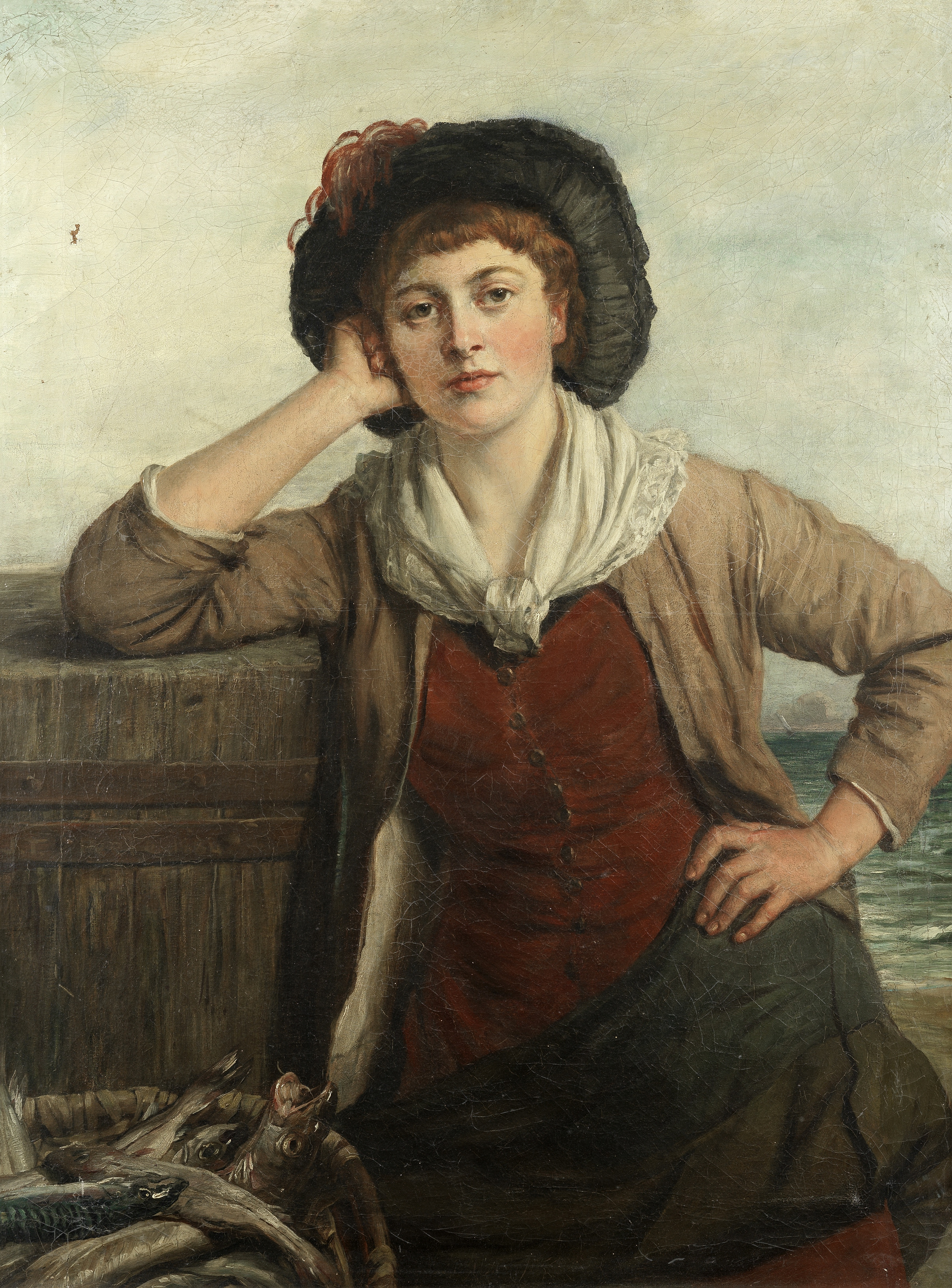 John Thomas Peele (British, 1822-1897) 'Cornish Fish-girl'