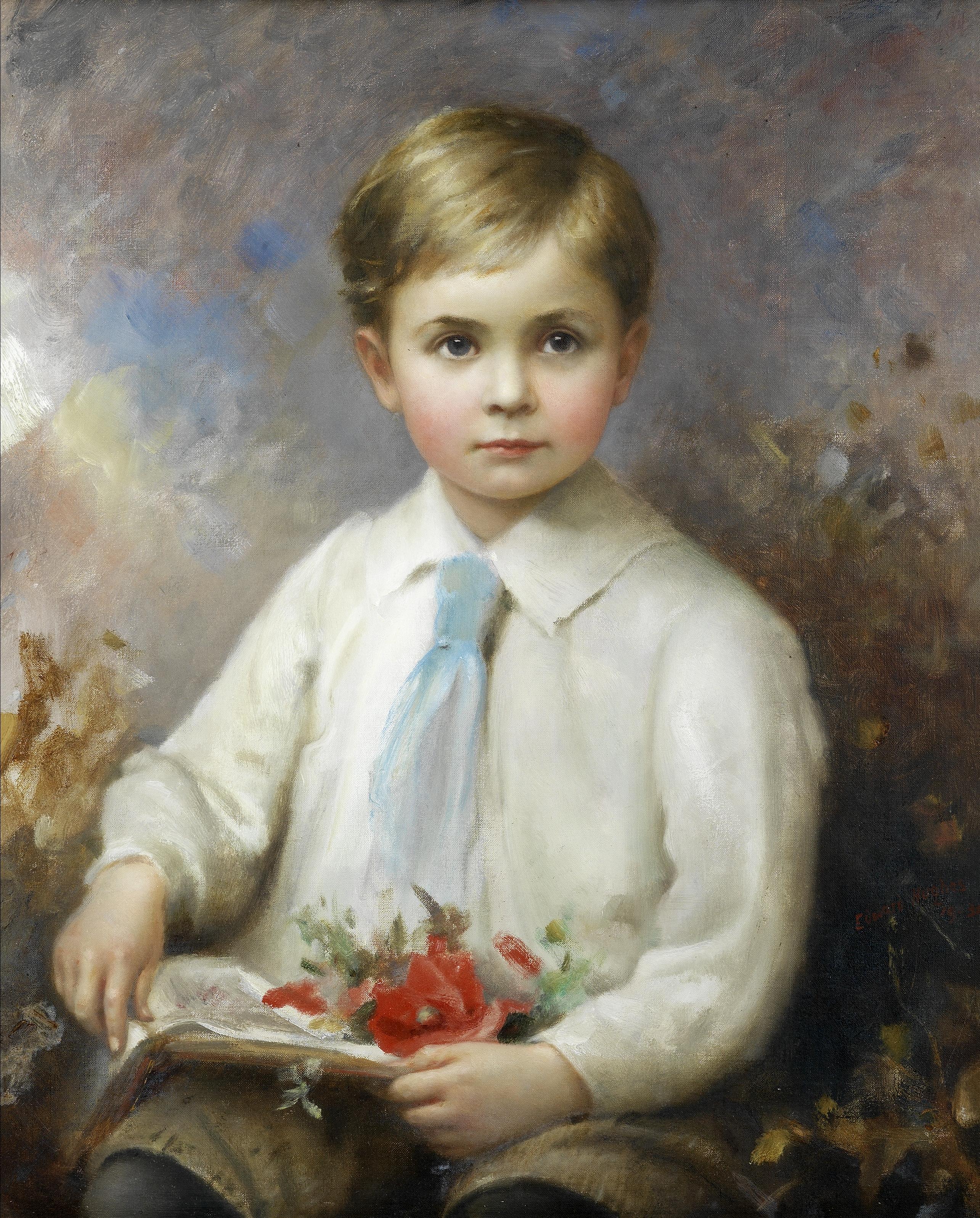 Edward Hughes (British, 1832-1908) Portrait of Rodney William Verelst