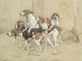Paul Tavernier (French, born 1852) French hunting hounds
