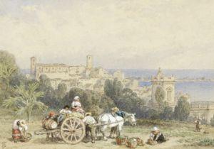 Myles Birket Foster, RWS (British 1825-1899) Loading the cart for market